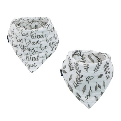 Bebe au Lait Classic Muslin Bandana Bibs - Just Be & Leaves 2pk