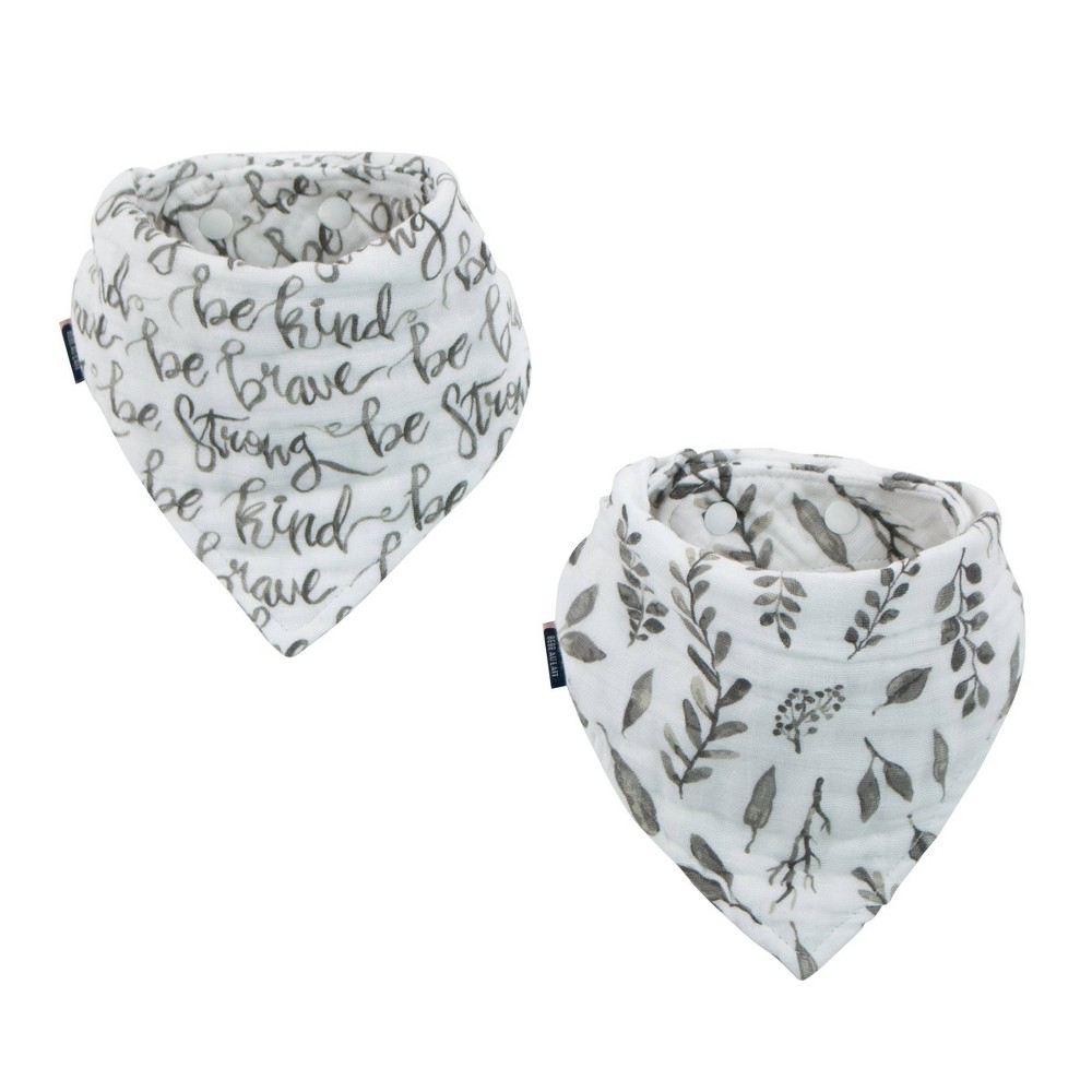 Image of Bebe au Lait Classic Muslin Bandana Bibs - Just Be & Leaves 2pk, Gray