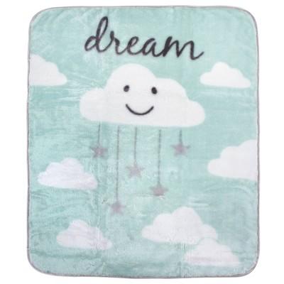 Hudson Baby Unisex Baby High Pile Plush Blanket - Mint Cloud One Size