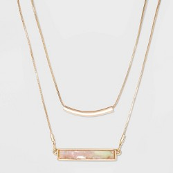 Shell Piece Bar Necklace - A New Day™ Blush