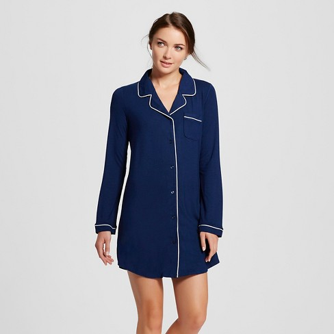 Women's Sleep Button-Up Nightgowns - Gilligan & O'Malley™ Nighttime Blue - image 1 of 2