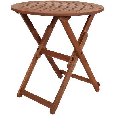 "Sunnydaze Outdoor Meranti Wood with Teak Oil Finish Folding Round Patio Accent Bistro Table - 27"" - Brown"