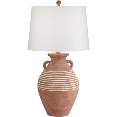 John Timberland Rustic Table Lamp Southwest Red Brown Sandstone Linen Drum Shade for Living Room Bedroom Bedside Office Family