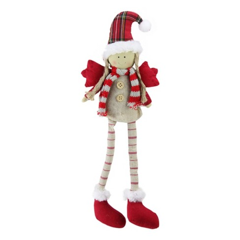 """Northlight 14"""" Red and Ivory Standing Girl Angel with Dangling Legs Christmas Figurine - image 1 of 2"""