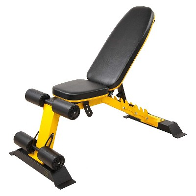 HulkFit HFAD-BMON Adjustable and Foldable 1,000 Pound Capacity Utility Weight Bench for Upright, Incline, Decline, and Flat Exercise, Yellow