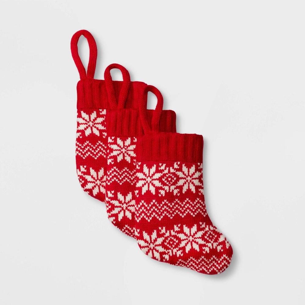 Image of 3pk Mini Fair Isle Christmas Stocking Red - Wondershop