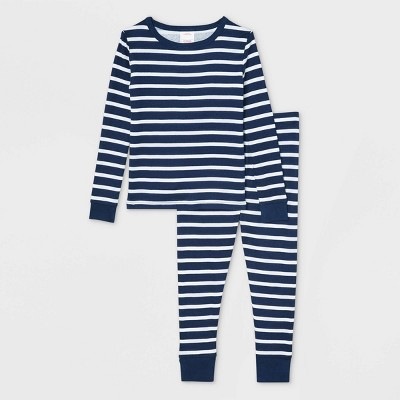 Toddler Striped 100% Cotton Tight Fit Matching Family Pajama Set - Navy