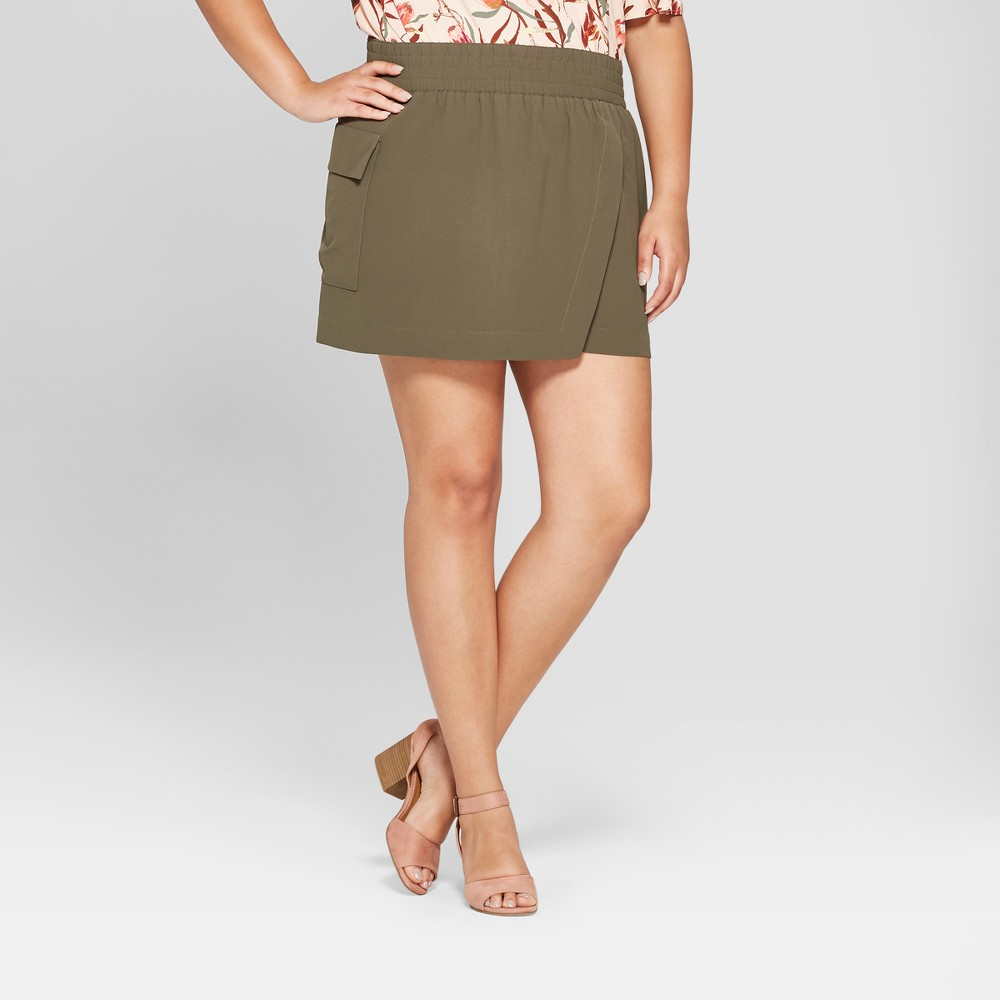 Women's Plus Size Asymmetrical Skort - Ava & Viv Olive (Green) 2X