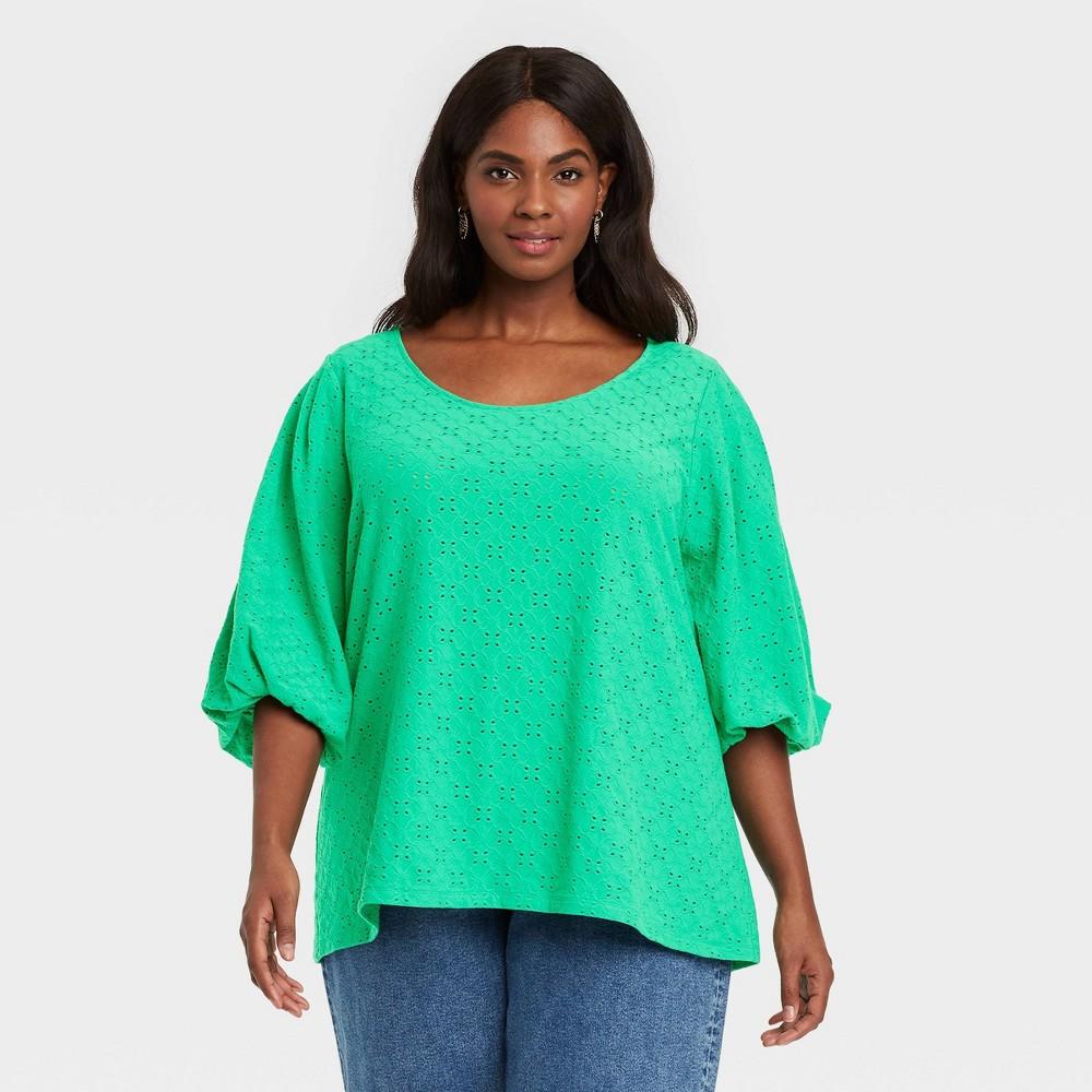 Women 39 S Plus Size Knit Eyelet Top Ava 38 Viv 8482 Green X