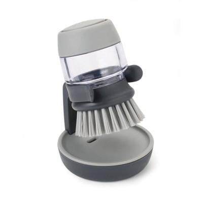 Joseph Joseph Palm Scrub Soap Dispensing Washing-Up Brush with Storage Stand - Gray