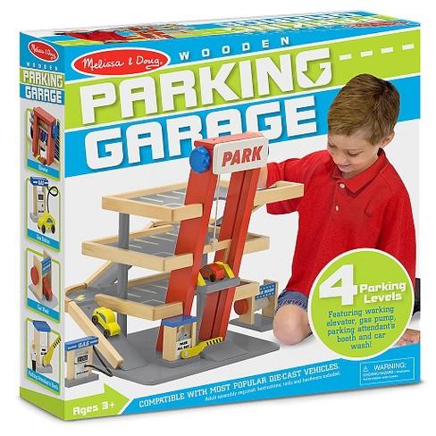 Melissa Doug Deluxe Wooden Parking Garage Play Set