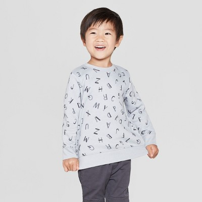 Toddler Boys' Fleece Crew Sweatshirt - Cat & Jack™ Light Gray 18M