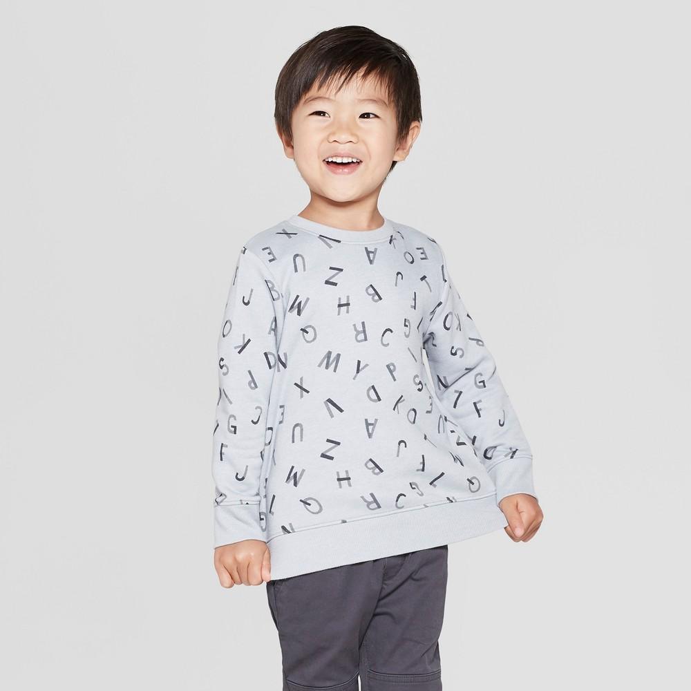 Toddler Boys' Fleece Crew Sweatshirt - Cat & Jack Light Gray 2T