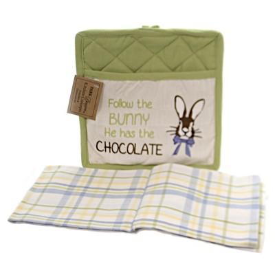 "Tabletop 8.75"" Follow The Bunny Towel Set Easter Park Designs  -  Kitchen Textile Set"