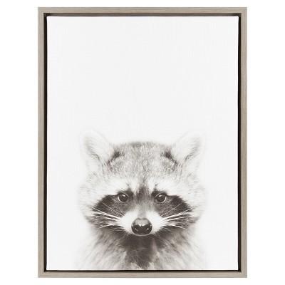"Raccoon Framed Canvas Art Gray (24""x18"") - Uniek"