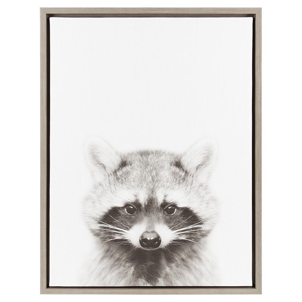 "Image of ""Raccoon Framed Canvas Art Gray (24""""x18"""") - Uniek"""
