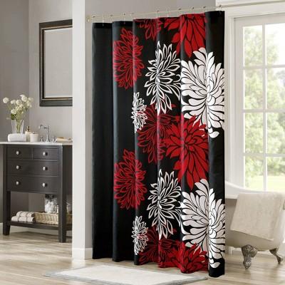 Enya Printed Floral Shower Curtain Red/Black