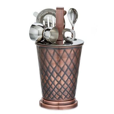 Old Dutch 6pc Copper Antique Embossed Diamond Bar Set