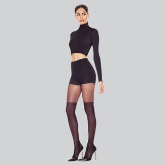 Hanes Premium Women's Perfect Illusion Thigh High Tights - Black 2X-Large