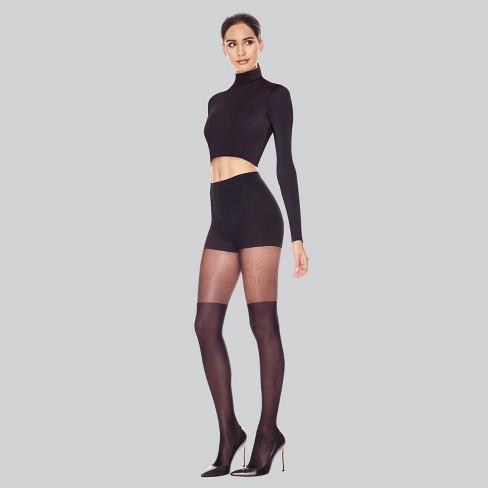 Hanes Premium Women's Perfect Illusion Thigh High Tights - Black - image 1 of 3