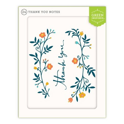 Green Inspired 24ct Boughs Thank You Cards