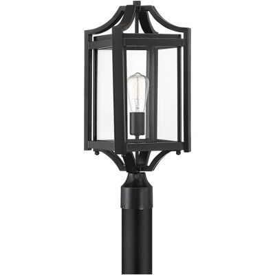 """Franklin Iron Works Rustic Farmhouse Outdoor Post Light Fixture Black 20 1/4"""" Clear Glass House Porch Patio Garden Yard Walkway"""