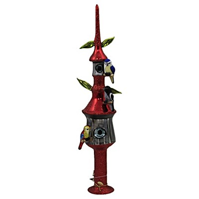 """Morawski 16.0"""" Birds Of A Feather Tree Topper Finial Bird House Home Tabletop  -  Tree Toppers"""