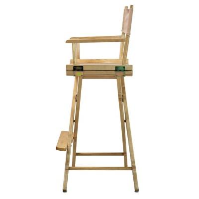 Bar-Height Director's Chair - Natural Frame, Beige Canvas, Tan