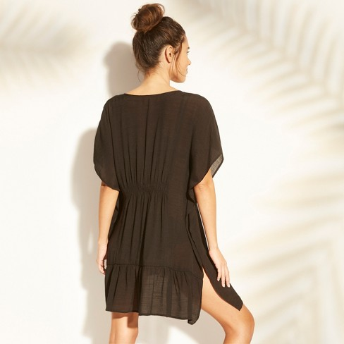 cff20338aeb Women s Embroidered Lace-Up Cover Up - Cover 2 Cover Black L