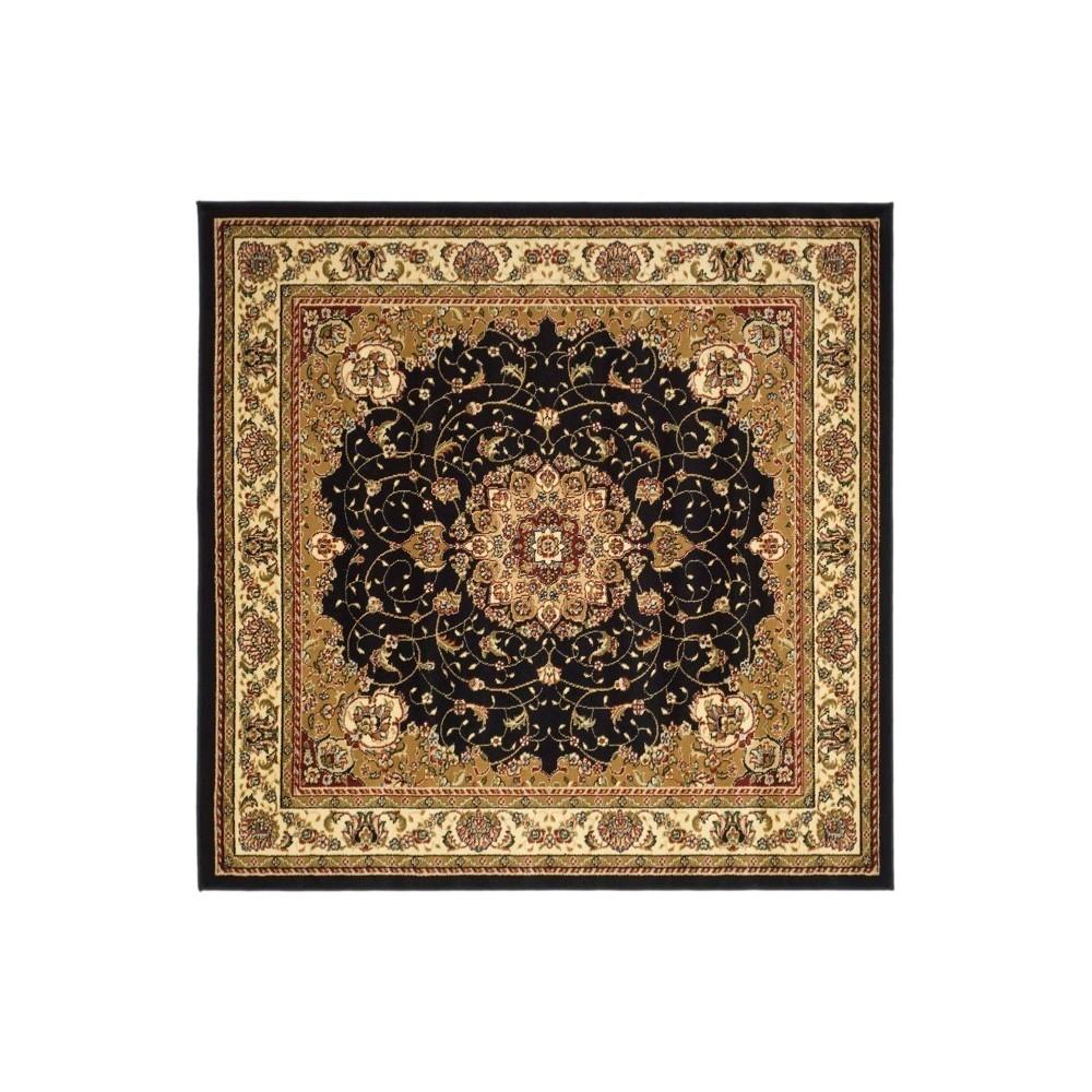 Black/Ivory Floral Loomed Square Area Rug 7'X7' - Safavieh