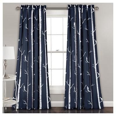 Bird On The Tree Room Darkening Window Curtain Panels - Lush Décor