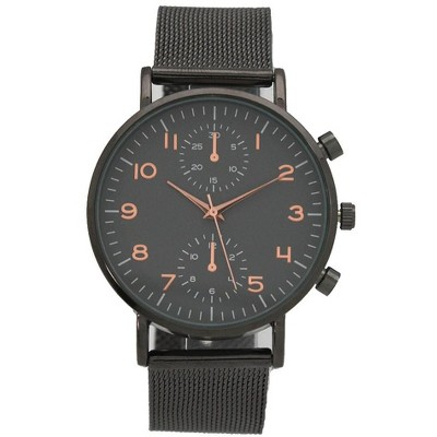 Olivia Pratt Mesh Two-Dial Buckle Strap Watch