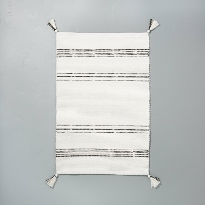 Tonal Stripes Bath Rug Sour Cream/Railroad Gray - Hearth & Hand™ with Magnolia