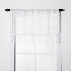 "24""x41"" Macrame Sheer Window Valance White - Opalhouse™"