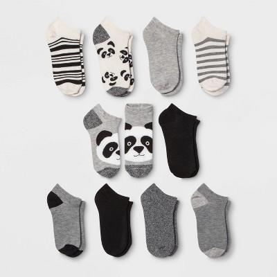 Women's Panda 10pk Low Cut Socks - Xhilaration™ Black/White/Gray 4-10