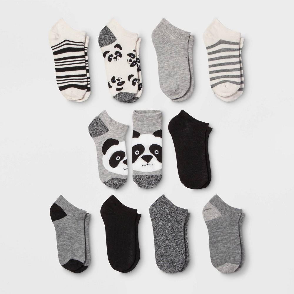 Women 39 S Panda 10pk Low Cut Socks Xhilaration 8482 Black White Gray 4 10