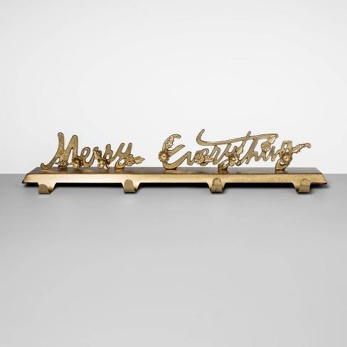 "24"" x 4.6"" Merry Everything Brass Stocking Holder Gold - Opalhouse™ - image 1 of 2"