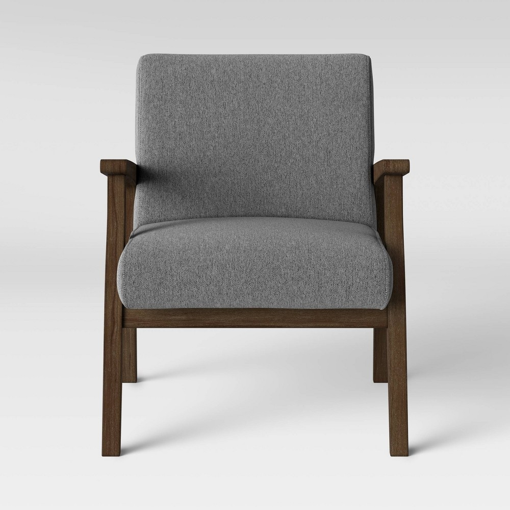 Maynard Wood Frame Accent Chair with Channel Tufting Dark Gray - Threshold