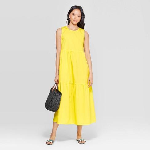 b7eeec23e0 Women's Sleeveless Crewneck Tiered Maxi Dress - Who What Wear™ Yellow