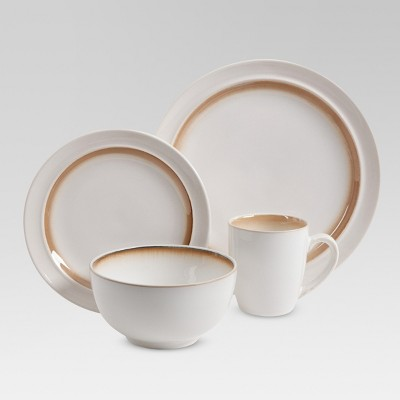 Stoneware 16pc Rimmed Dinnerware Set Beige - Threshold™