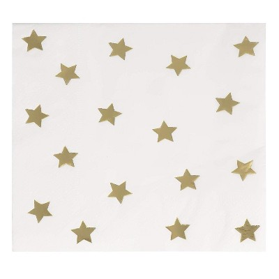 "Juvale 50-Pack Gold Foil Star Disposable Paper Cocktail Napkins 5"", Birthday Bridal Shower Party Supplies"