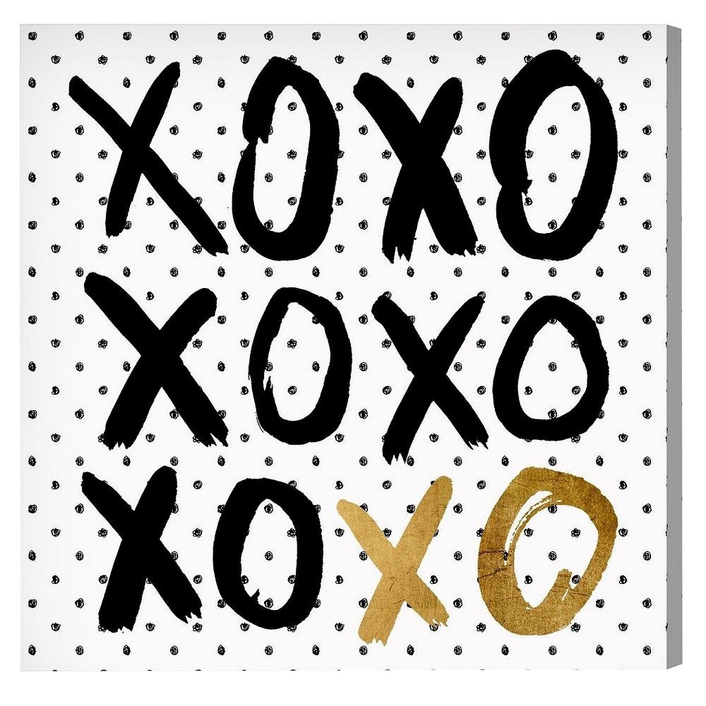 "Image of ""Oliver Gal Unframed Wall """"Hugs and KK in Black Polka Dot"""" Canvas Art (20x20), White Gold Black"""