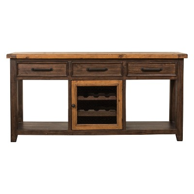 Wine storage table Wine Bar Tuscan Retreat Sofa Table With Wine Rack And Two 2 Baskets Café Sua Twotone Brushed Bronze Hillsdale Furniture Mherger Furniture Tuscan Retreat Sofa Table With Wine Rack And Two 2 Baskets Caf