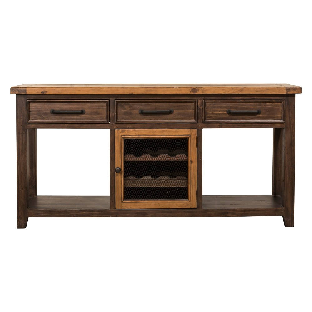 Tuscan Retreat Sofa Table with Wine Rack and Two (2) Baskets Café Sua TwoTone / Brushed Bronze - Hillsdale Furniture, Caramel