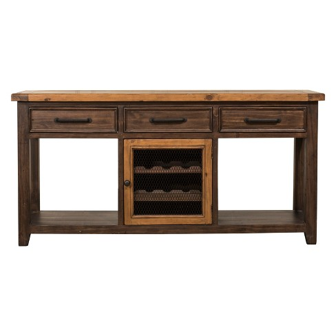 Tuscan Retreat Sofa Table With Wine Rack And Two 2 Baskets Café Sua Twotone Brushed Bronze Hilale Furniture