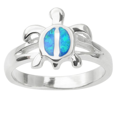1/10 CT. T.W. Oval-cut Simulated Opal Turtle Inlaid Set Ring in Sterling Silver - Blue - image 1 of 2