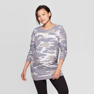 Maternity Camo Print Sweatshirt - Isabel Maternity by Ingrid & Isabel™ Gray XL