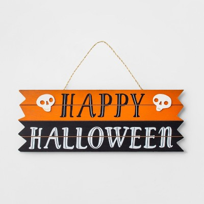 Happy Halloween Wood Hanging Sign Black/Orange - Hyde and Eek! Boutique™