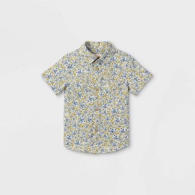 Toddler Boys' Floral Print Woven Short Sleeve Button-Down Shirt - Cat & Jack™ Blue