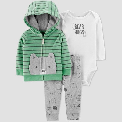 Baby Boys' Celery Bear Cardigan Top & Bottom Set - Just One You® made by carter's Green/White/Gray Newborn